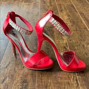Fioni red jeweled ankle strap heels